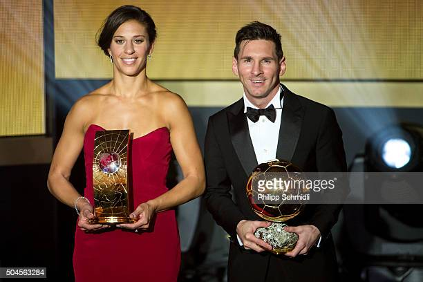 Women's World Player of the Year winner Carli Lloyd of the USA and Houston Dash and FIFA Ballon d'Or winner Lionel Messi of Argentina and FC...