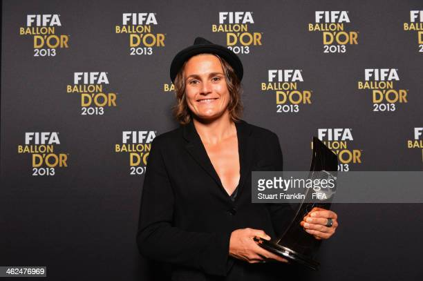 Women's World Player of the Year winner Nadine Angerer of Germany and Brisbane Roar poses with her award after the FIFA Ballon d'Or Gala 2013 at the...