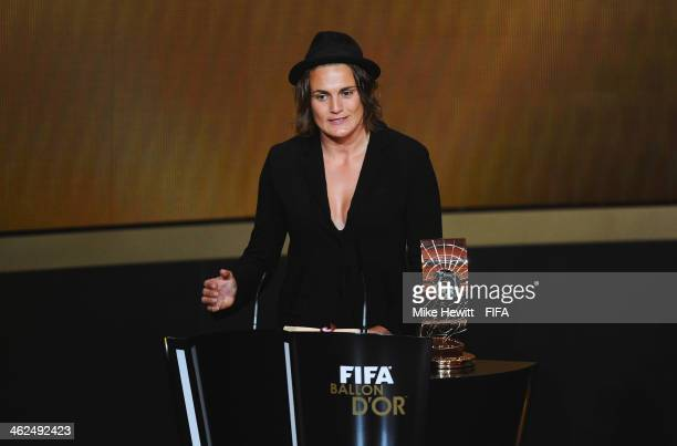 Women's World Player of the Year winner Nadine Angerer of Germany and Brisbane Roar accepts her award during the FIFA Ballon d'Or Gala 2013 at the...