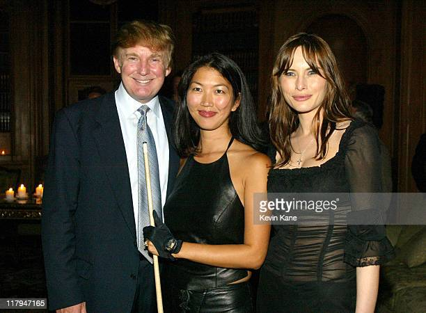 "Women's world pool champion Jeanette ""The Black Widow"" Lee poses with Donald Trump and Melania Knauss"