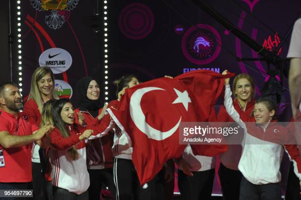 Women's Wrestling National Team of Turkey celebrate their third place with getting 2 gold and 3 bronze medals at the end of the 2018 European...