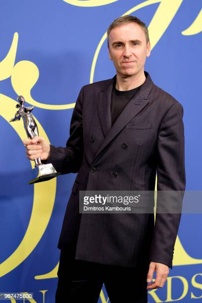 Womenswear Designer of The Year award winner Raf Simons attends the 2018 CFDA Fashion Awards Winners Walk at Brooklyn Museum on June 4, 2018 in New...