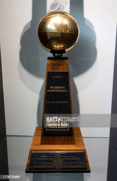 """Women""""u2019s Big Ten Basketball Champions trophy in the Tom Izzo 'Basketball Hall Of History' trophy room inside Gilbert Pavilion, home of the..."""