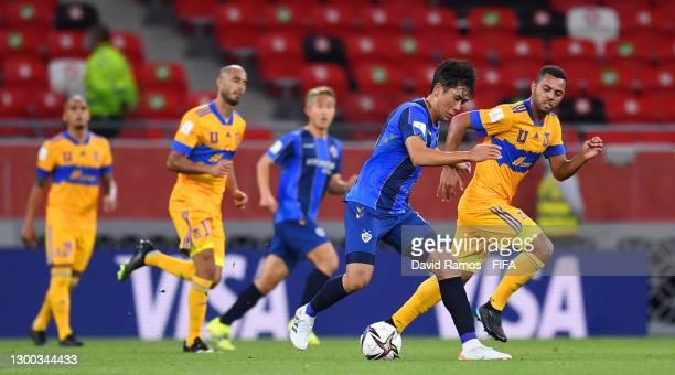 Won Du-jae of Ulsan Hyundai battles for possession with Rafael Carioca of Tigres UANL during the FIFA Club World Cup Qatar 2020 Second Round match...