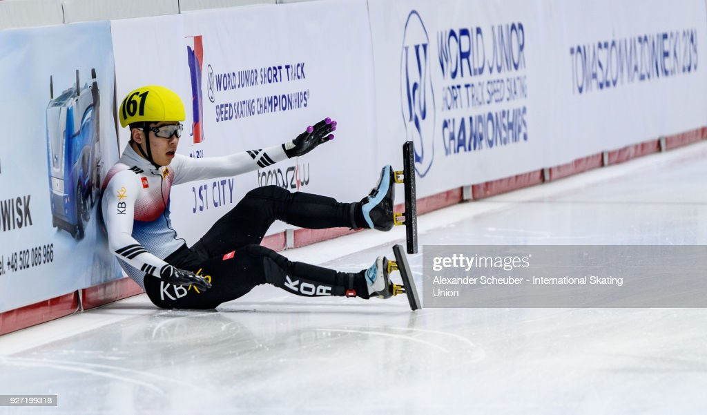 Won Jun Moon of Korea crashes in the Mens 3000m Relay Final A during the World Junior Short Track Speed Skating Championships Day 2 at Arena Lodowa on March 4, 2018 in Tomaszow Mazowiecki, Poland.
