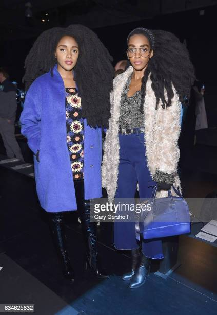 Wonder and Cipriana Quann attend the Cushnie Et Ochs fashion show during February 2017 New York Fashion Week at Gallery 1 Skylight Clarkson Sq on...