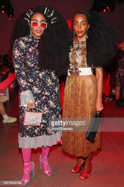 Wonder and Cipriana Quann attend the Discount Universe front row during New York Fashion Week The Shows at Gallery II at Spring Studios on September...