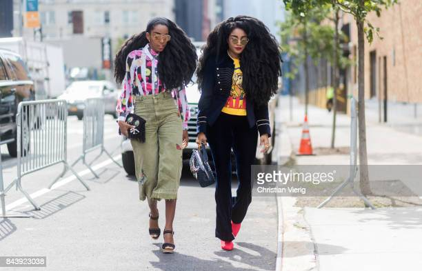 Wonder and Cipriana Quann seen wearing velvet pants high waisted khaki pants in the streets of Manhattan outside Desigual during New York Fashion...