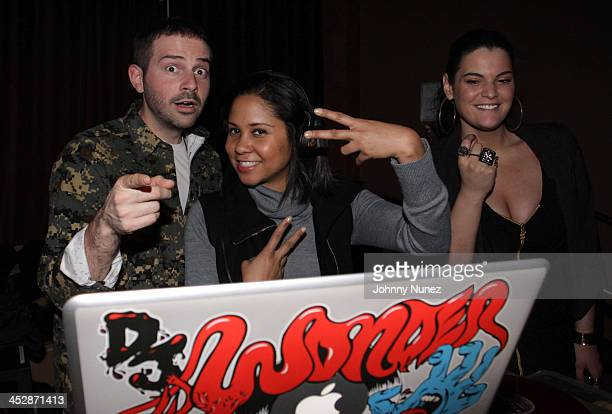 DJ Wonder Angela Yee and Deirdre Maloney attend Bottles Strikes Tuesday Celebrity Bowling at Lucky Strike Lanes Lounge on February 9 2010 in New York...