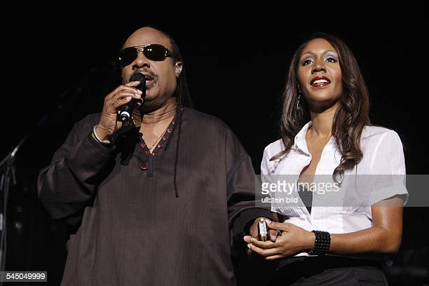 Wonder Stevie Musician Singer Pop music USA with daughter Aisha performing in Cologne Germany Lanxess Arena