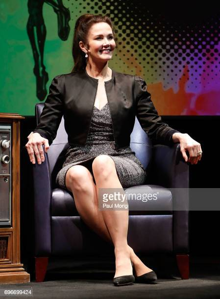 'Wonder Woman' actress Lynda Carter is interviewed as part of The Library of Awesome Pop Up Exhibit at The Library of Congress on June 16 2017 in...