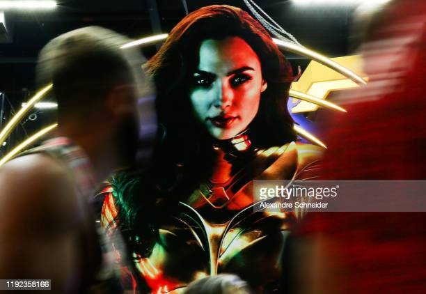 Wonder Woman backdrop is seen at CCXP 2019 Sao Paulo at Sao Paulo Expo on December 06, 2019 in Sao Paulo, Brazil.