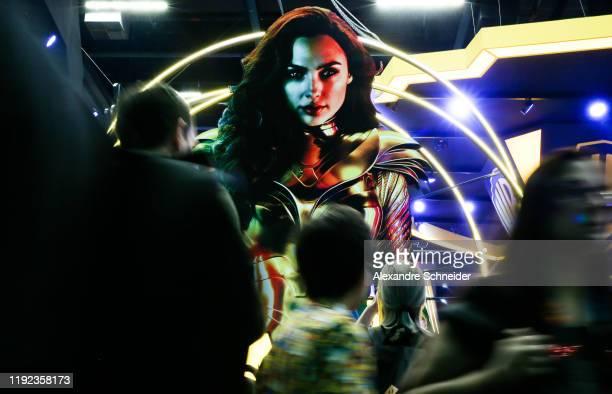 Wonder Woman backdrop is seen at CCXP 2019 Sao Paulo at Sao Paulo Expo on December 06 2019 in Sao Paulo Brazil