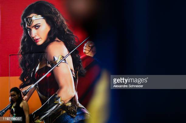 Wonder Woman backdrop is seen during CCXP 2019 Sao Paulo at Sao Paulo Expo on December 05, 2019 in Sao Paulo, Brazil.