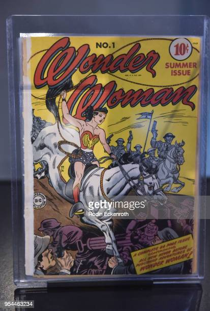 """Wonder Woman"" comic at the Warner Bros. Studio Tour Hollywood Updated DC Universe Justice League Exhibit at Warner Bros. Tour Center on May 3, 2018..."