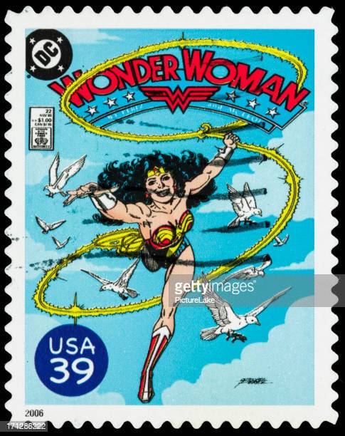 usa wonder woman comic book cover postage stamp - wonder woman stock pictures, royalty-free photos & images