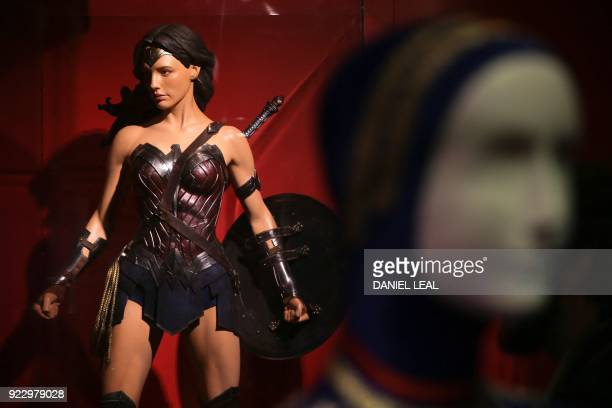 A Wonder Woman costume design by Lindy Hemming is displayed during a press preview of 'DC Comics Exhibition Dawn of Super Heroes' at the O2 Arena in...