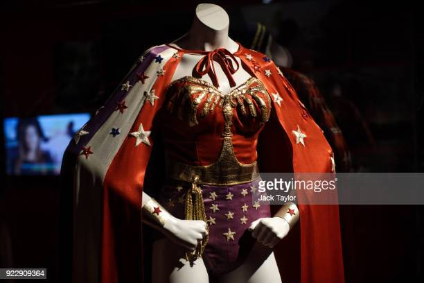 Wonder Woman costume from the 1970s Wonder Woman series worn by Lynda Carter and designed by Donald Lee Feld is on display at the DC Comics...