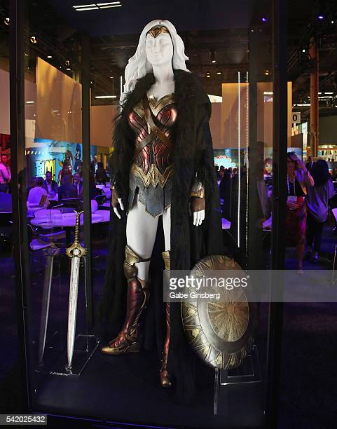Wonder Woman costume worn by Gal Gadot in the upcoming Wonder Woman movie is displayed in the Warner Bros booth at the Licensing Expo 2016 at the...