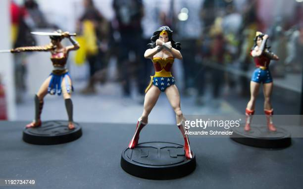 Wonder Woman miniatures are seen during CCXP 2019 at Sao Paulo Expo on December 08, 2019 in Sao Paulo, Brazil.