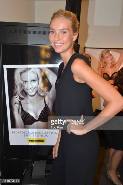 Wonderbra new muse Adriana Cernanova poses during the Wonderbra New Ephemeral Shop Launch Party on September 13 2012 Paris France