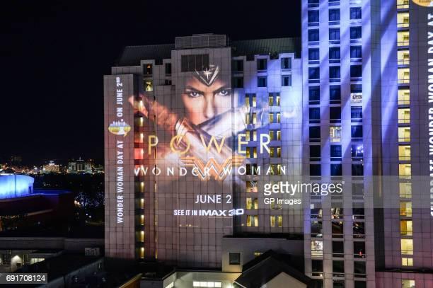 Wonderful 21 storey piece of art projected on hotel celebrating Wonder Woman release at Niagara Falls on June 2 2017 in Niagara Falls Canada