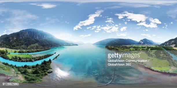 wonderful 360° aerial view of lake thun in interlaken, switzerland - equirectangular panorama stock pictures, royalty-free photos & images