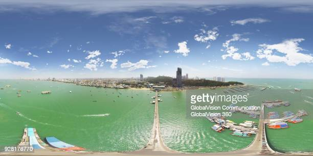 Wonderful 360° Bird's-eye View above Pattaya Harbour, Thailand