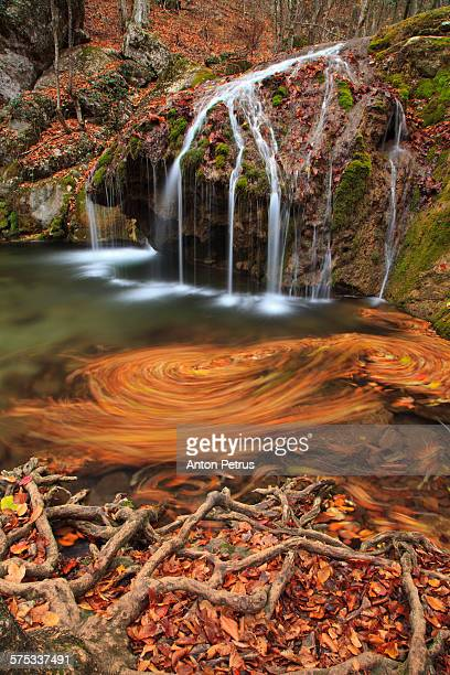 Wonderful autumn landscape with a waterfall