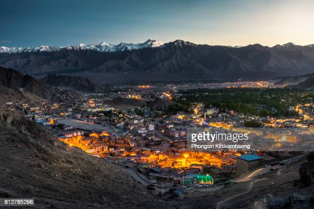 Wonderful city view of Leh city in the valley, Leh Ladakh, India