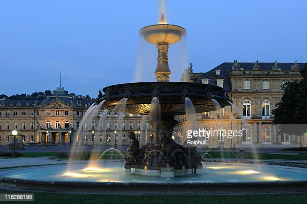 wonderful illuminated water fountain stuttgart new palace - castle square stock pictures, royalty-free photos & images