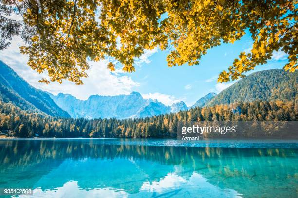 wonderful mountain lake - slovenia stock pictures, royalty-free photos & images