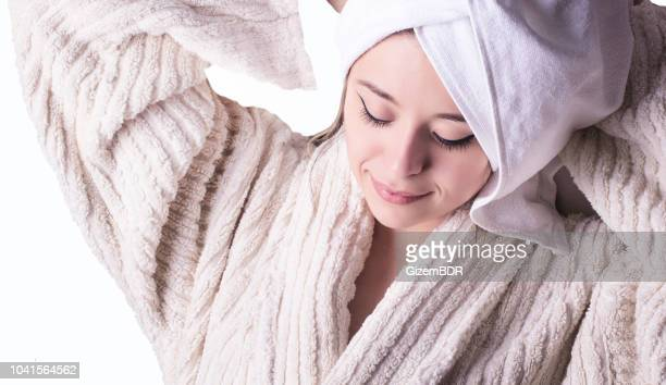 wonderful slim girl in white bathrobe after spa - beauty salon ukraine stock pictures, royalty-free photos & images