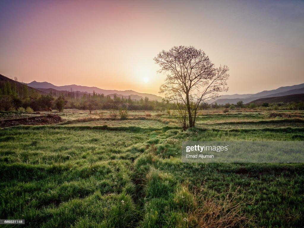 Wonderful sunrise over Abyaneh Village, Iran - 28 April 2017 : Stock Photo