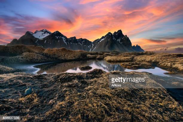 Wonderful sunset in Vesturhorn mountain in Iceland