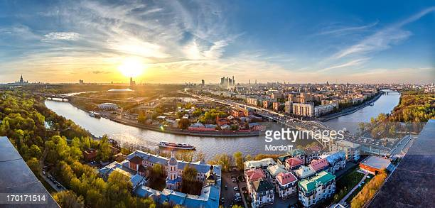wonderful sunset over moscow city - moscow russia stock pictures, royalty-free photos & images