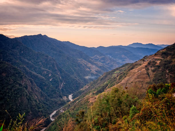 Wonderful sunset over the foothills of the Himalayas, Nepal - March 3, 2017