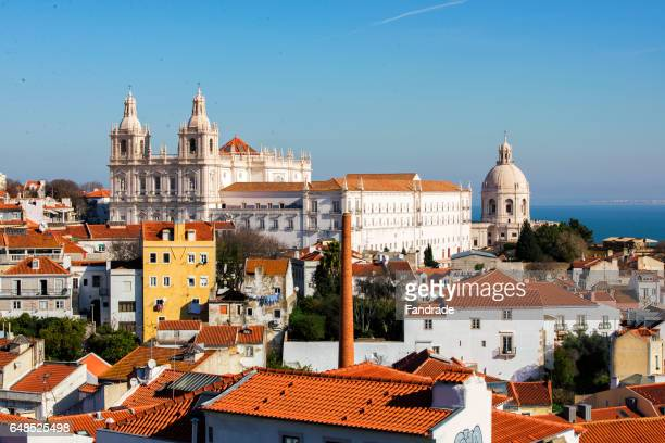 wonderful view of lisbon, port - alfama stock photos and pictures