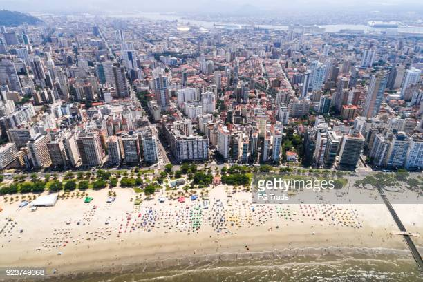 Wonderful view of Santos coastline in the state of Sao Paulo, Brazil