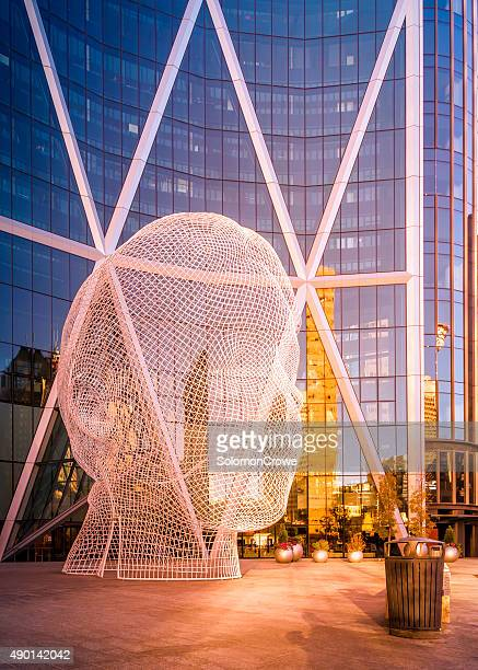 wonderland in front of bow tower - calgary stock pictures, royalty-free photos & images