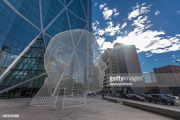 wonderland sculpture in downtown of calgary, canada - calgary stock pictures, royalty-free photos & images
