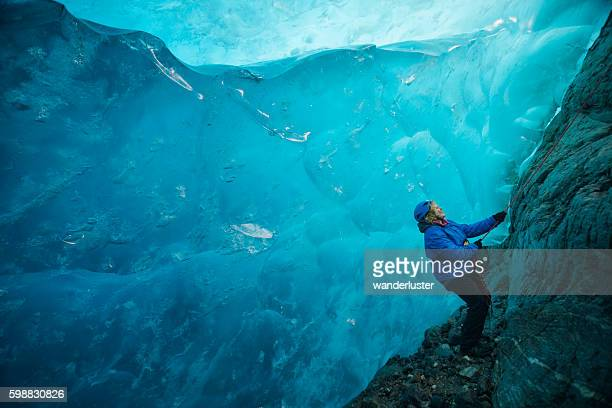 wonderlust in a blue ice cave