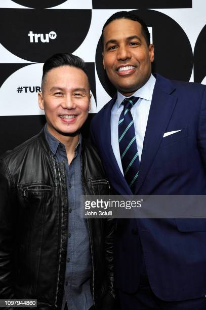 BD Wong and Joey Jackson pose in the green room during the TCA Turner Winter Press Tour 2019 at The Langham Huntington Hotel and Spa on February 11...