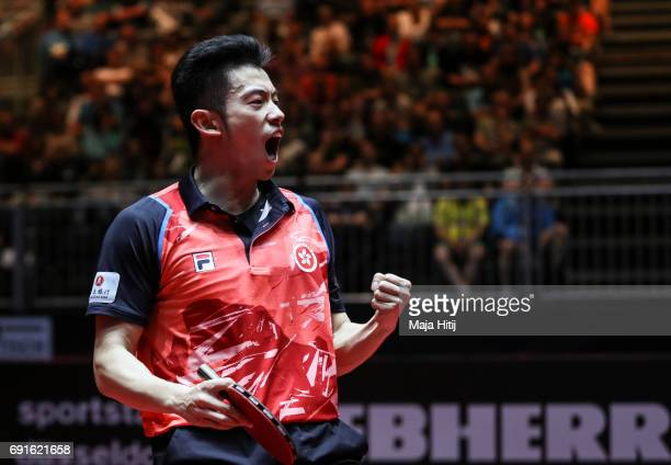 Wong Chun Ting of Hong Kong celebrates during Men's Singles quarterfinals at Table Tennis World Championship at Messe Duesseldorf on June 2 2017 in...