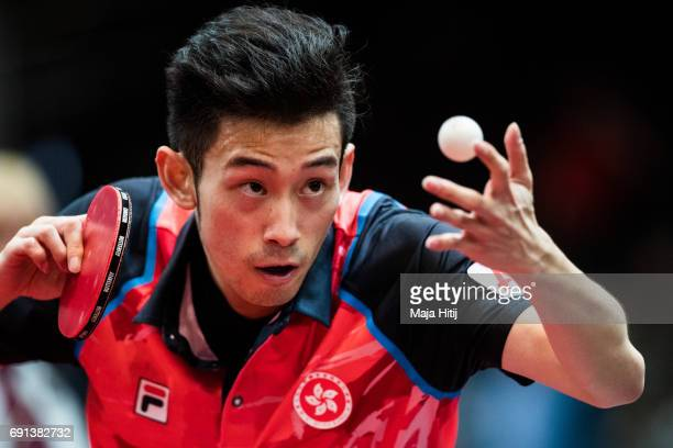 Wong Chun Ting of Hong Kong competes during Men Single 2 Round at Messe Duesseldorf on June 1 2017 in Dusseldorf Germany