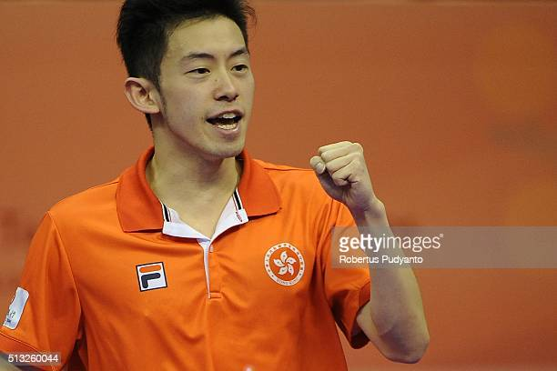 Wong Chun Ting of Hong Kong reacts against Lee Sangsu of Korea Republic during the 2016 World Table Tennis Championship Men's Team Division Round 5...