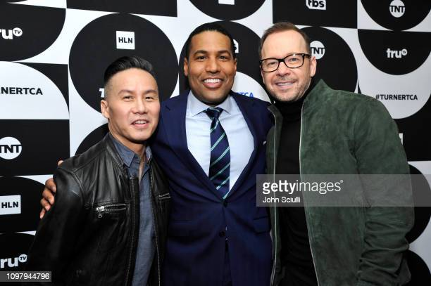 BD Wong Joey Jackson and Donnie Wahlberg pose in the green room during the TCA Turner Winter Press Tour 2019 at The Langham Huntington Hotel and Spa...