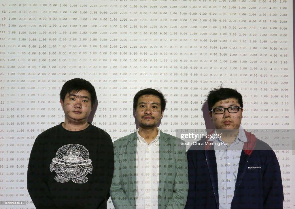 Wong Ka-lok, Cyrus Wong Chun-yin and Law Shi-yin, pose for a picture