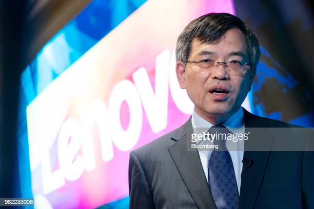 Wong Wai Ming executive vice president and chief financial officer of Lenovo Group Ltd speaks during a Bloomberg TV interview in Hong Kong China on...