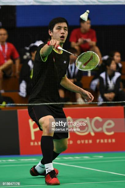Wong Wing Ki Vincent of Hong Kong competes against Qiao Bin of China during the EPlus Badminton Asia Team Championships 2018 at Sultan Abdul Halim...